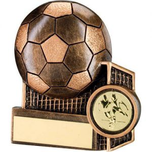 BRZ//PEW MALE DOUBLE FOOTBALL FIGURE WITH STAR BACKING TROPHY 1in CENTRE 9in